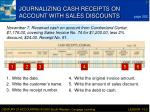 journalizing cash receipts on account with sales discounts