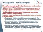 configuration database impact