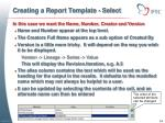 creating a report template select1