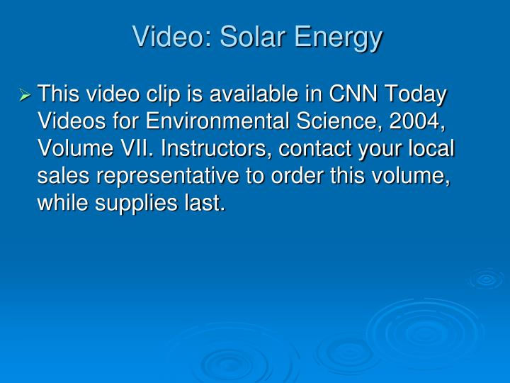 Video: Solar Energy