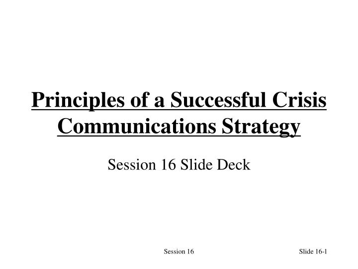 principles of a successful crisis communications strategy n.