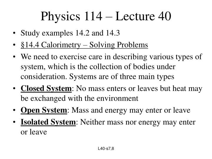 Physics 114 – Lecture 40