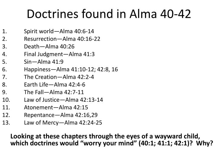 Doctrines found in Alma 40-42