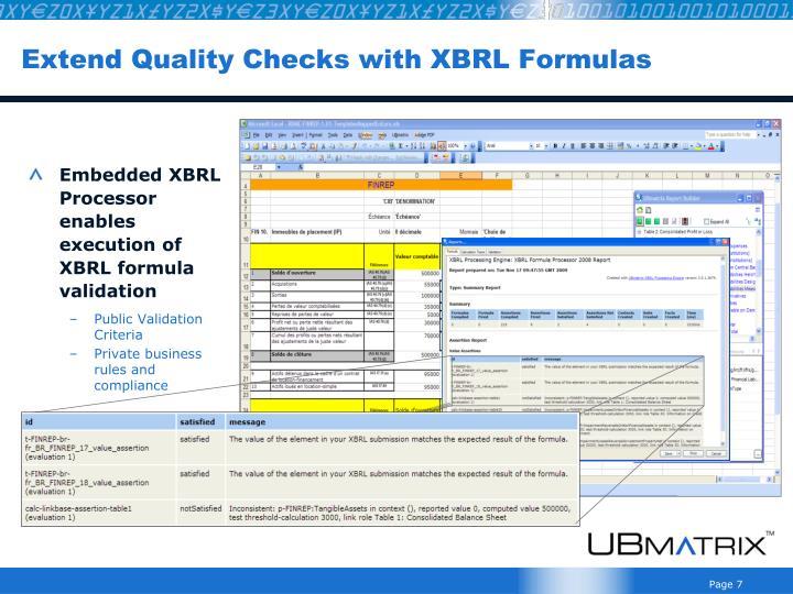 Extend Quality Checks with XBRL Formulas