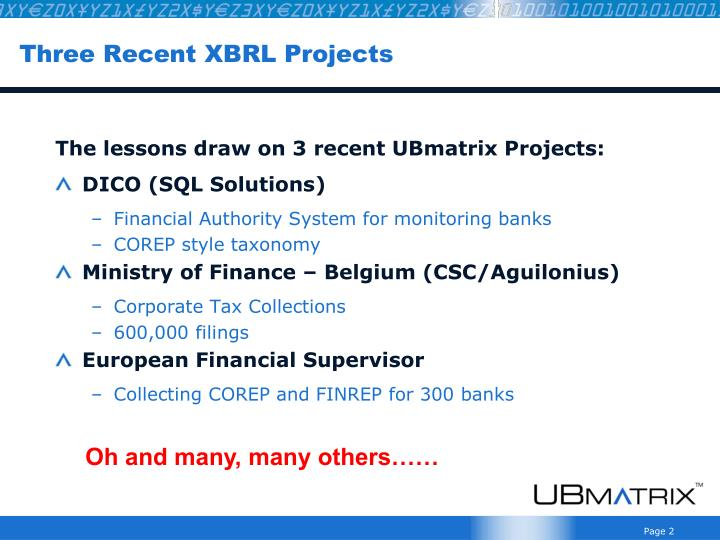 Three recent xbrl projects