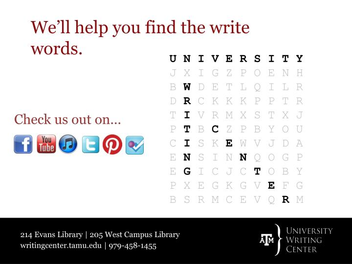 We'll help you find the write words.