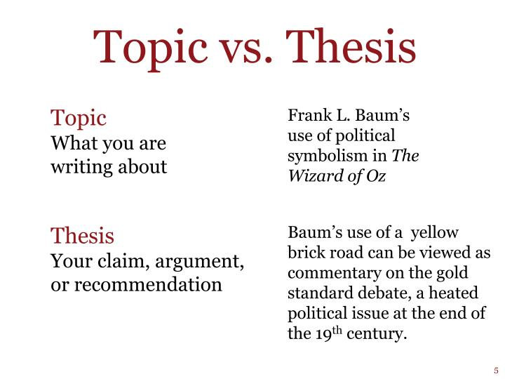 Topic vs. Thesis