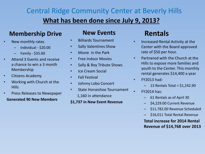 Central Ridge Community Center at Beverly Hills