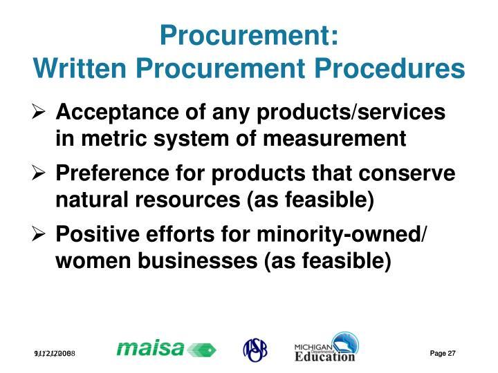 Procurement: