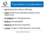 traceability considerations