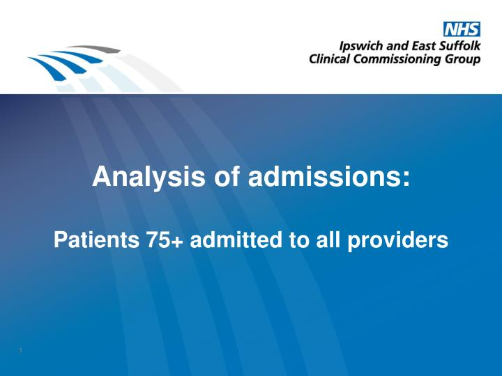 analysis of admissions patients 75 admitted to all providers n.