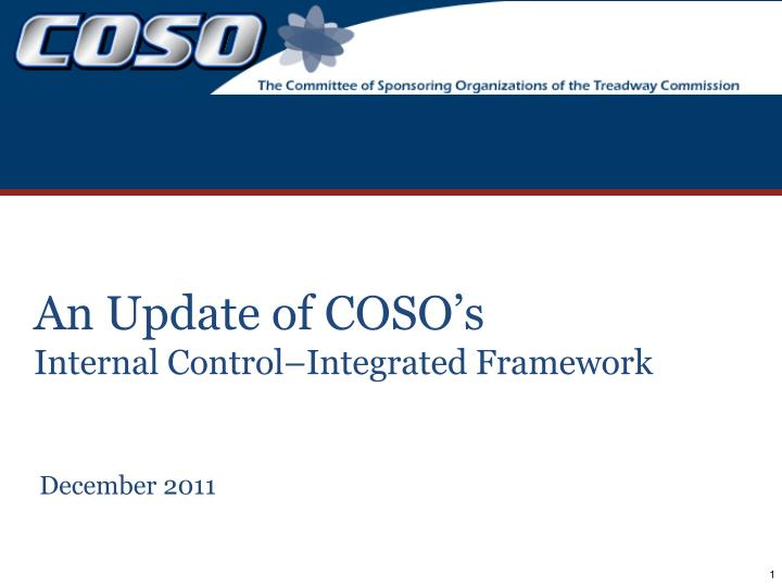 an update of coso s internal control integrated framework n.