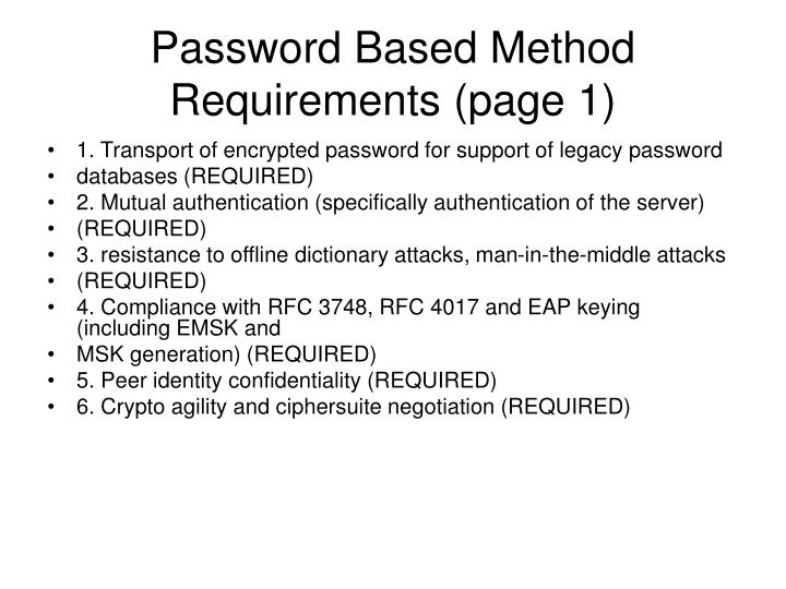 Password Based Method Requirements (page 1)