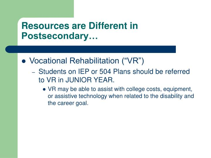 Resources are Different in Postsecondary…