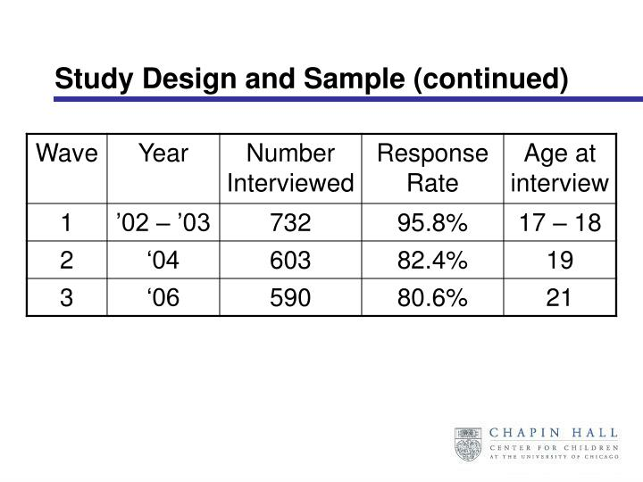 Study Design and Sample (continued)