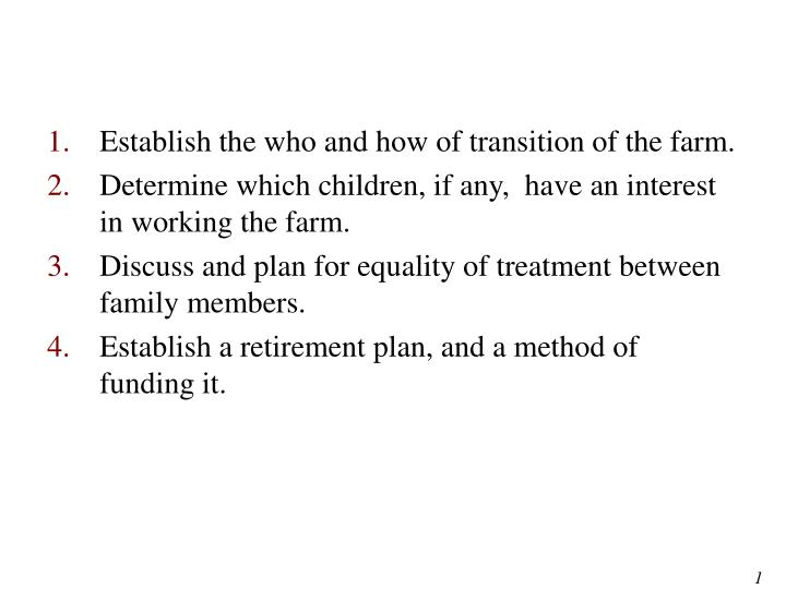Establish the who and how of transition of the farm.
