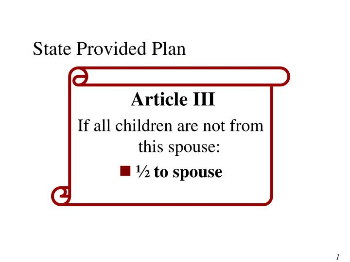 State Provided Plan