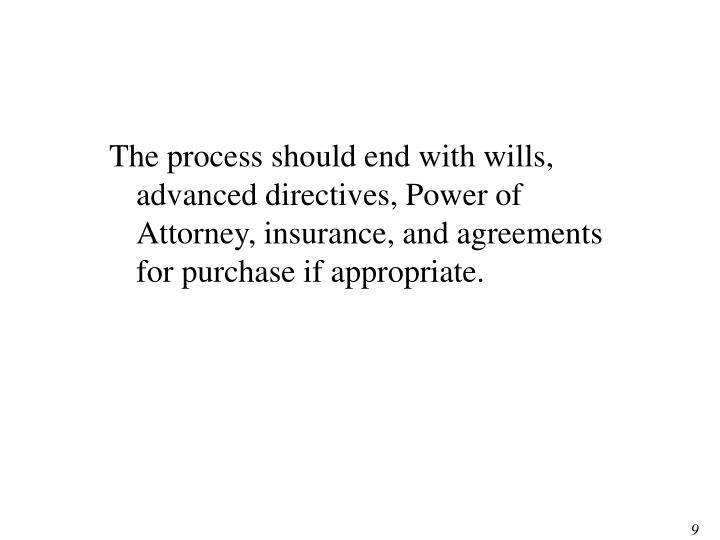 The process should end with wills, advanced directives, Power of Attorney, insurance, and agreements for purchase if appropriate.
