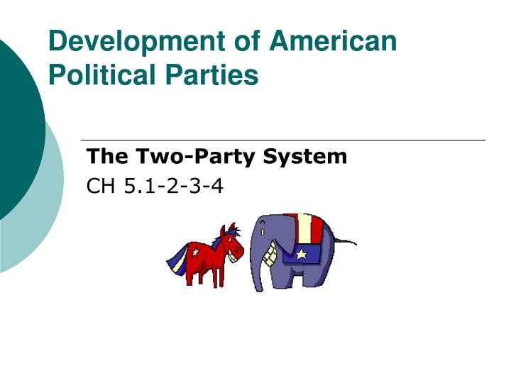 the development of political parties and San jose, march 9, 2012 – when george washington became president of the united states in 1789, there were no political parties political parties first emerged during washington's first term in office with the alexander hamilton's federalist party in 1791 and in the following year, the formation of the anti-federalist.