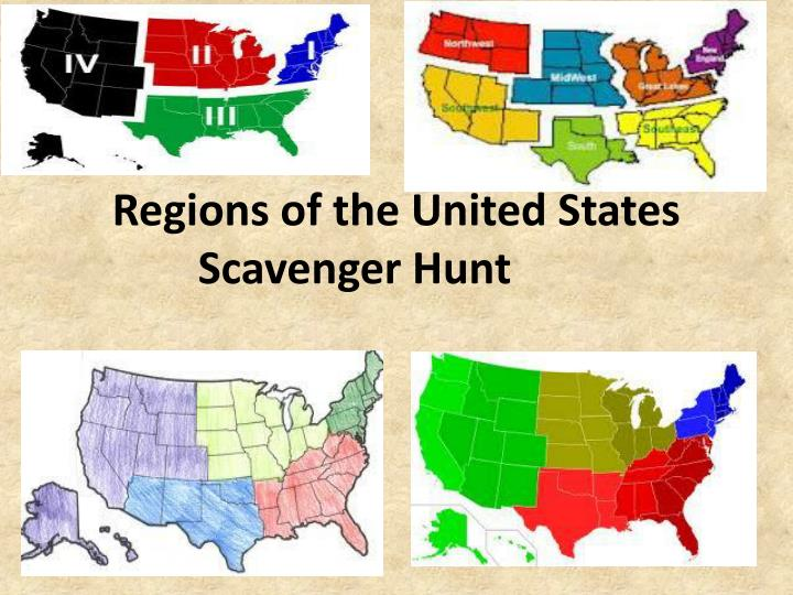 regions of the united states scavenger hunt n.
