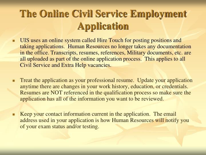 The online civil service employment application