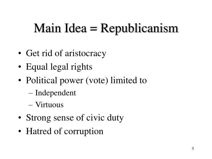 Main Idea = Republicanism