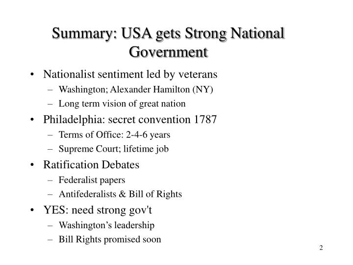 Summary usa gets strong national government