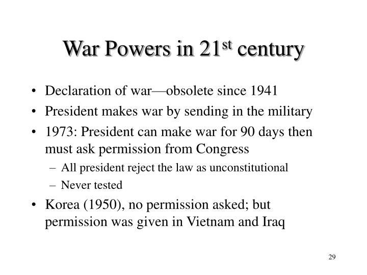 War Powers in 21