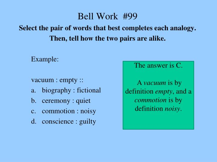 Ppt Bell Work 98 Select The Pair Of Words That Best Completes