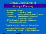critical components of strategic planning