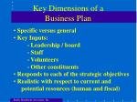 key dimensions of a business plan