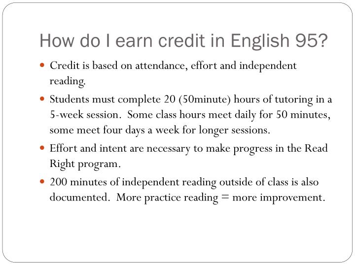 How do I earn credit in English 95?