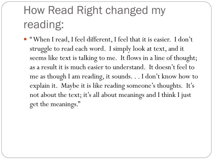 How Read Right changed my reading:
