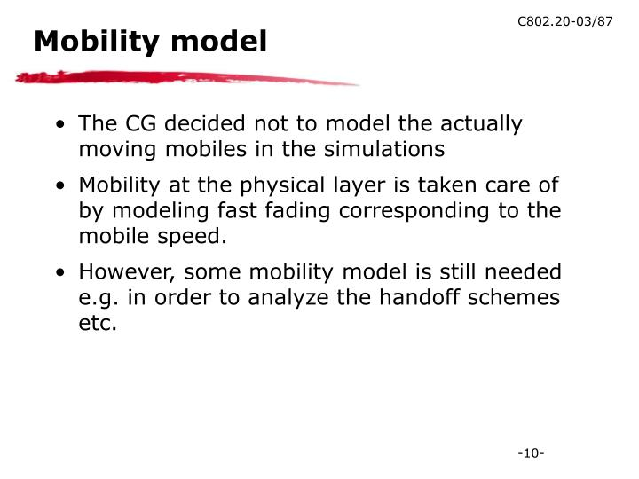 Mobility model