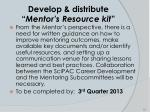 develop distribute mentor s resource kit