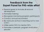 feedback from the expert panel for phs wide effort