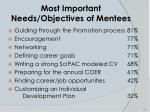 most important needs objectives of mentees