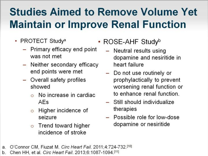 Studies Aimed to Remove Volume Yet Maintain or Improve Renal Function