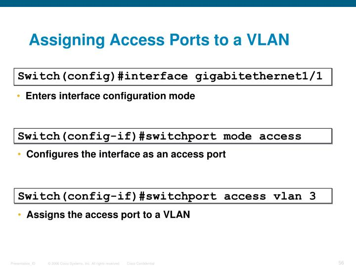 Assigning Access Ports to a VLAN