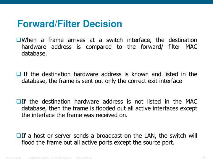 Forward/Filter Decision
