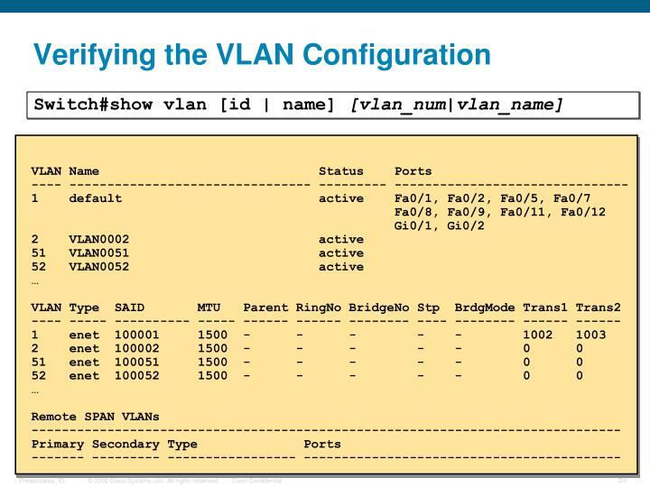 Verifying the VLAN Configuration