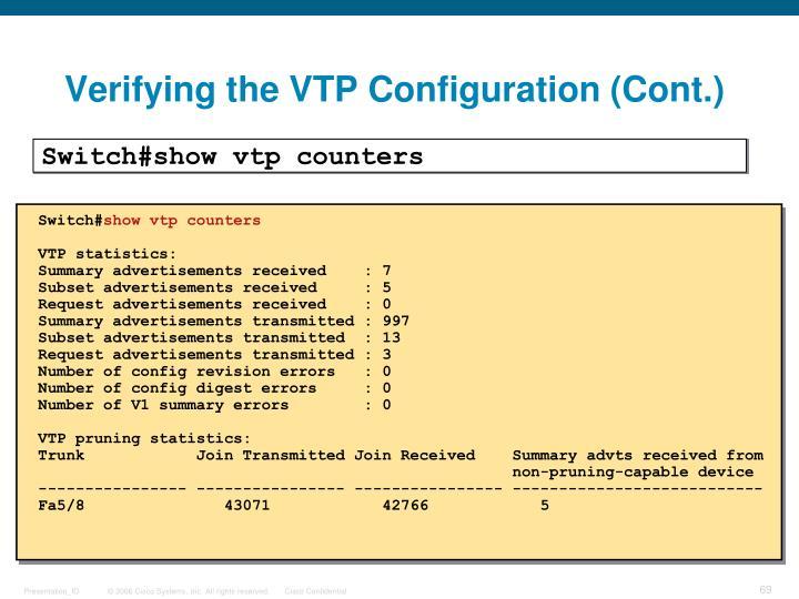 Verifying the VTP Configuration (Cont.)