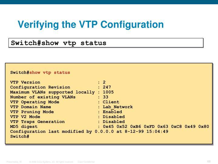 Verifying the VTP Configuration