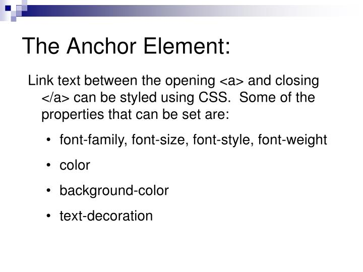 Ppt css link styling powerpoint presentation id 6830748 for Anchor decoration css