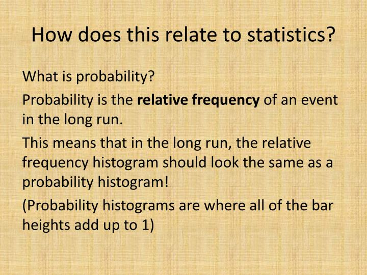How does this relate to statistics?