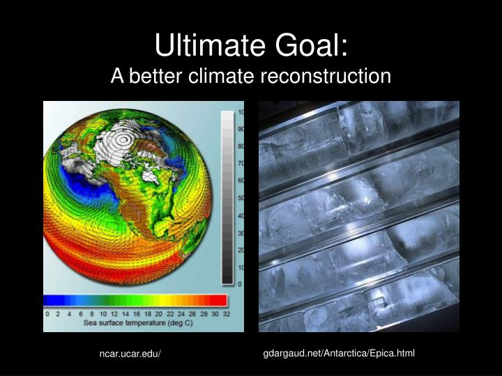 Ultimate goal a better climate reconstruction