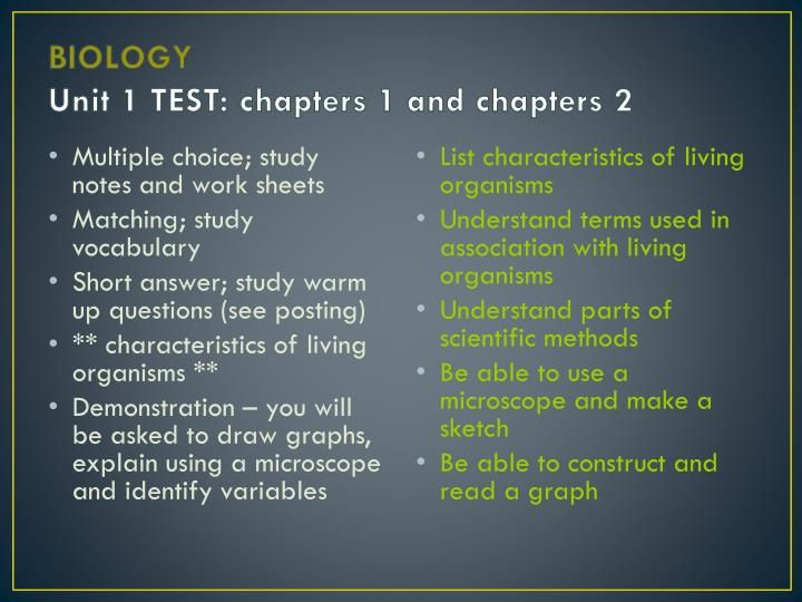 PPT BIOLOGY Unit 1 TEST Chapters 1 And Chapters 2
