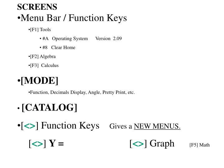 Menu Bar / Function Keys