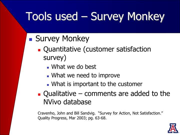Tools used – Survey Monkey