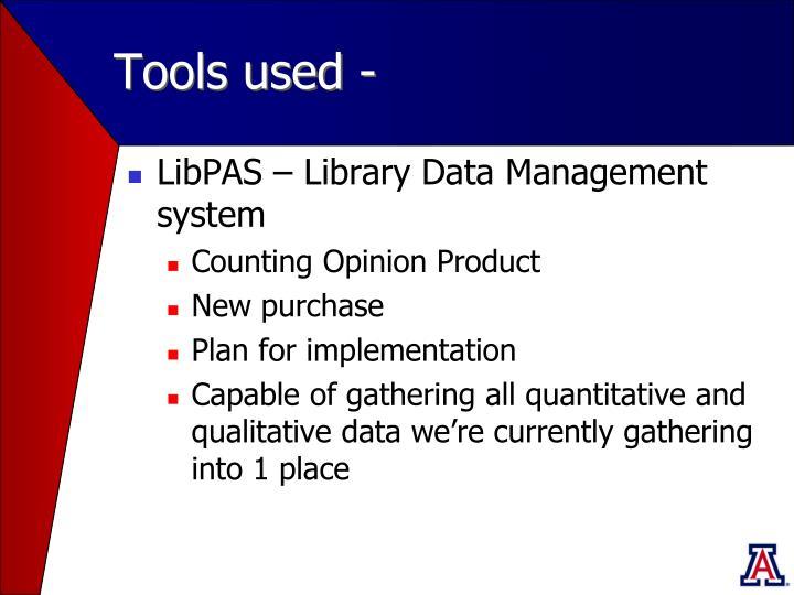 Tools used -